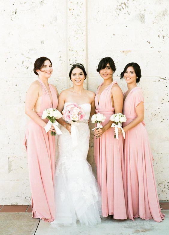 Blush pink infinity bridesmaid dress