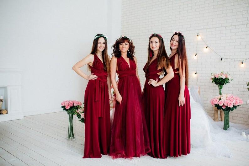 Burgundy infinity Bridesmaid dress