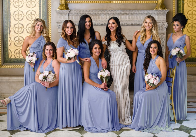 Dusty blue infinity bridesmaid dress