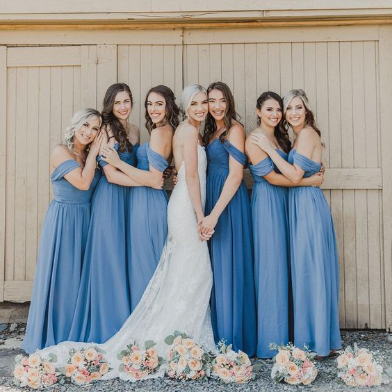 Dusty blue  bridesmaid photos