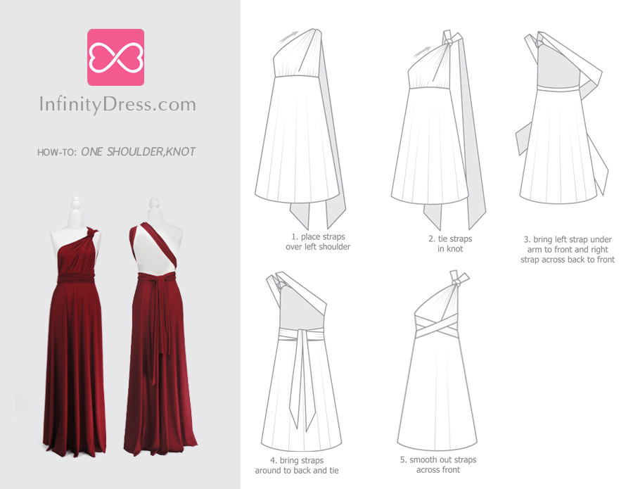 one shoulder, knot infinity dress styles