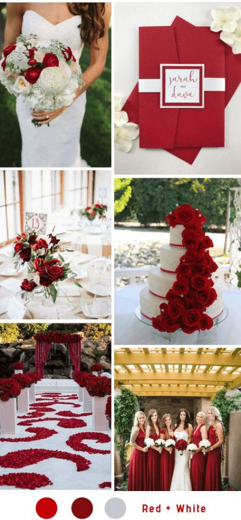 red & white wedding theme