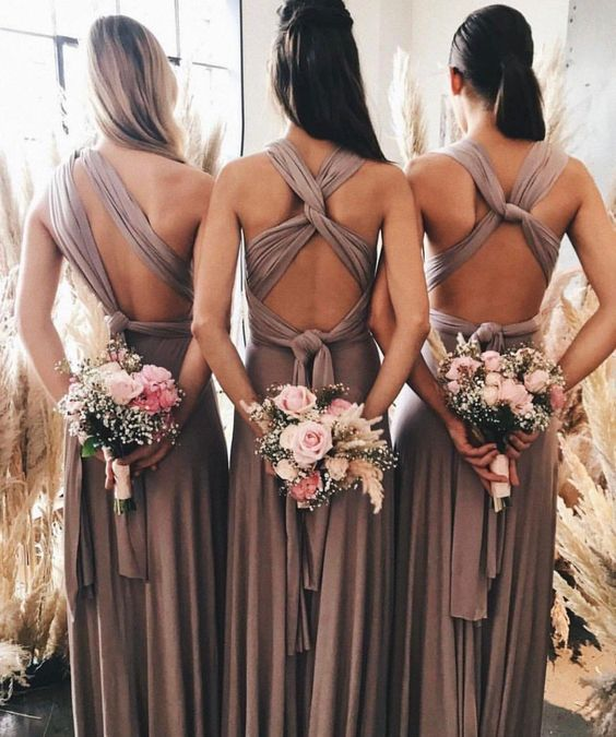 Taupe infinity bridesmaid dress
