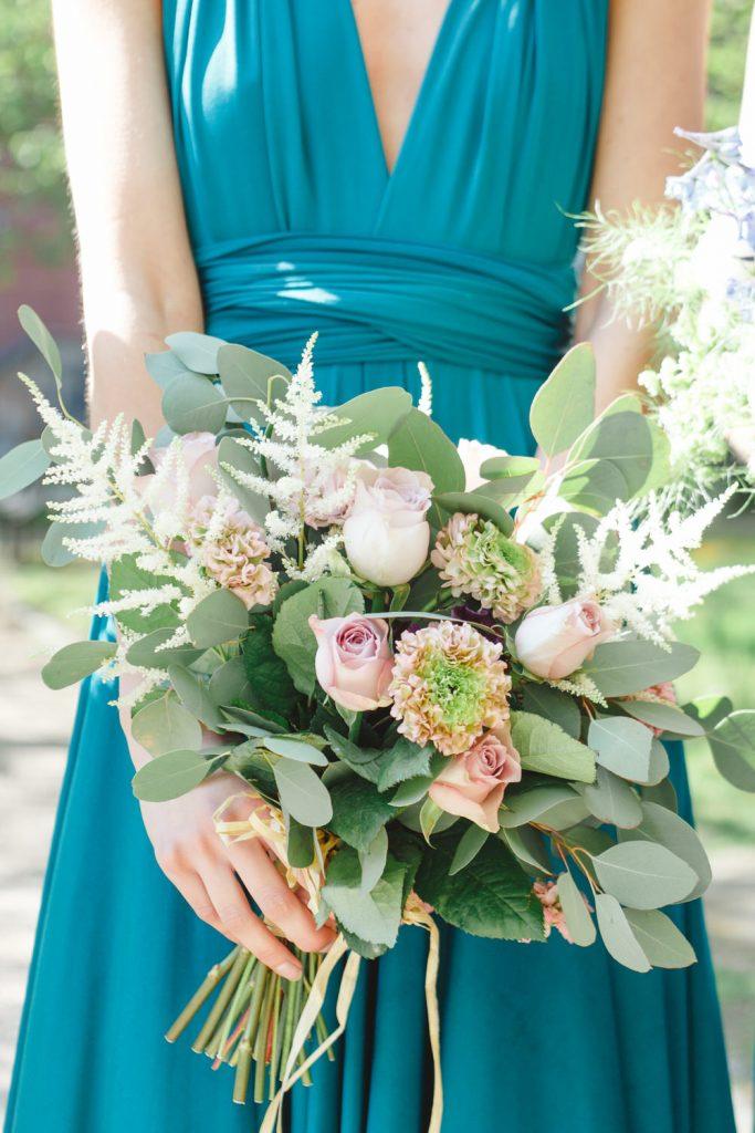 Teal infinity bridesmaid dress