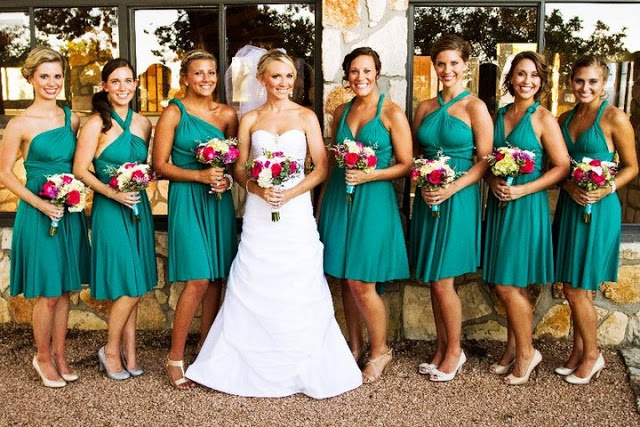 Teal infinity bridesmaid dress styles