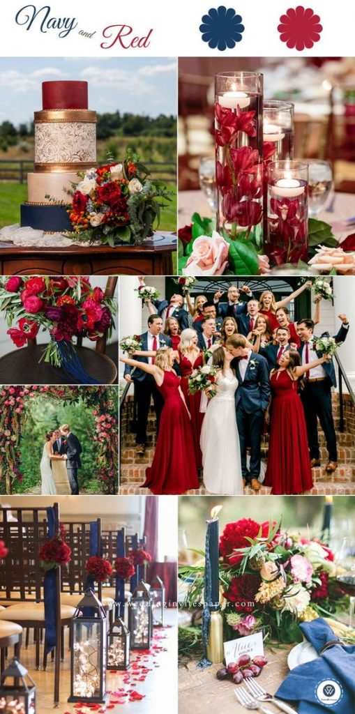 red & navy wedding theme
