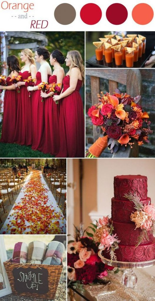 red & orange wedding theme