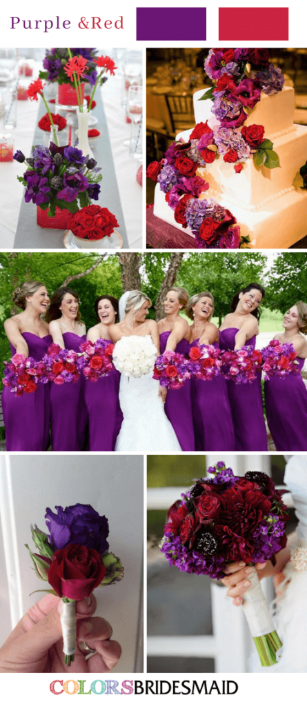purple and red wedding colors