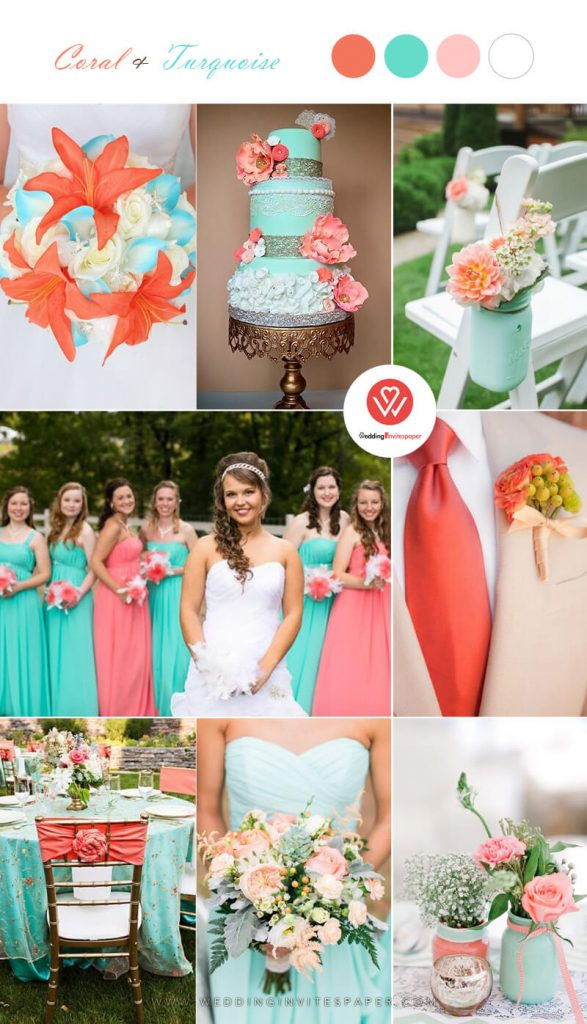 Turquoise coral  wedding color