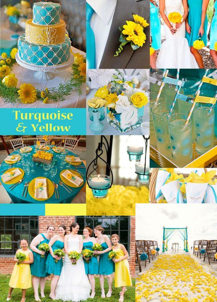 Turquoise yellow wedding color