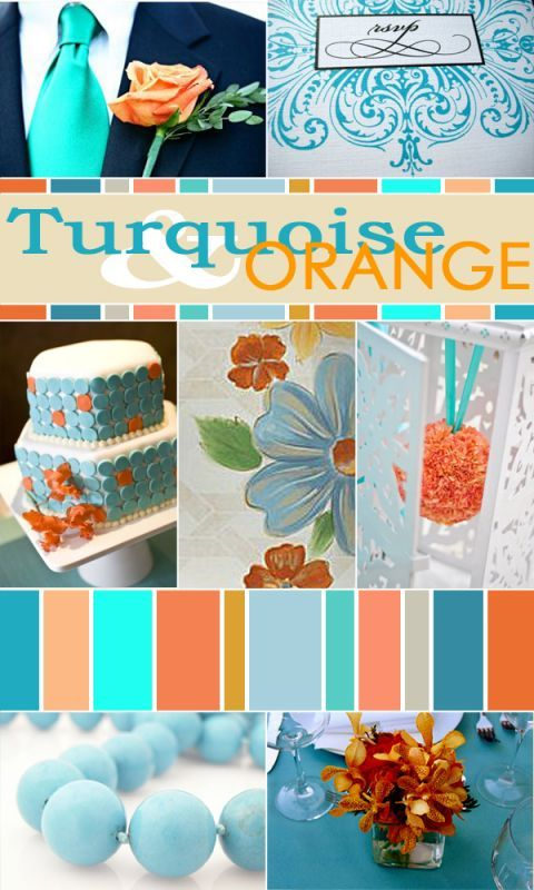 Turquoise orange wedding color