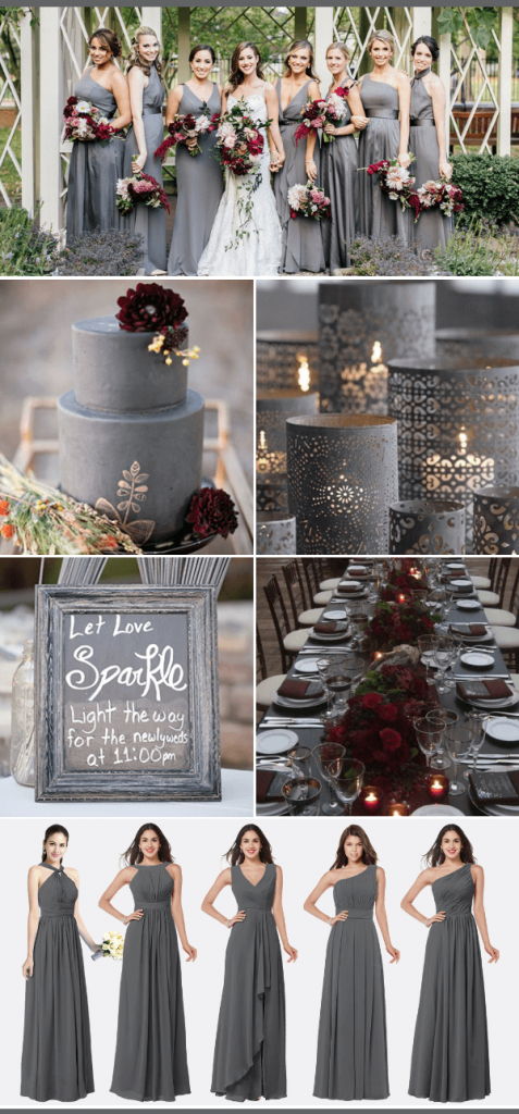 Grey Burgundy white fall wedding color