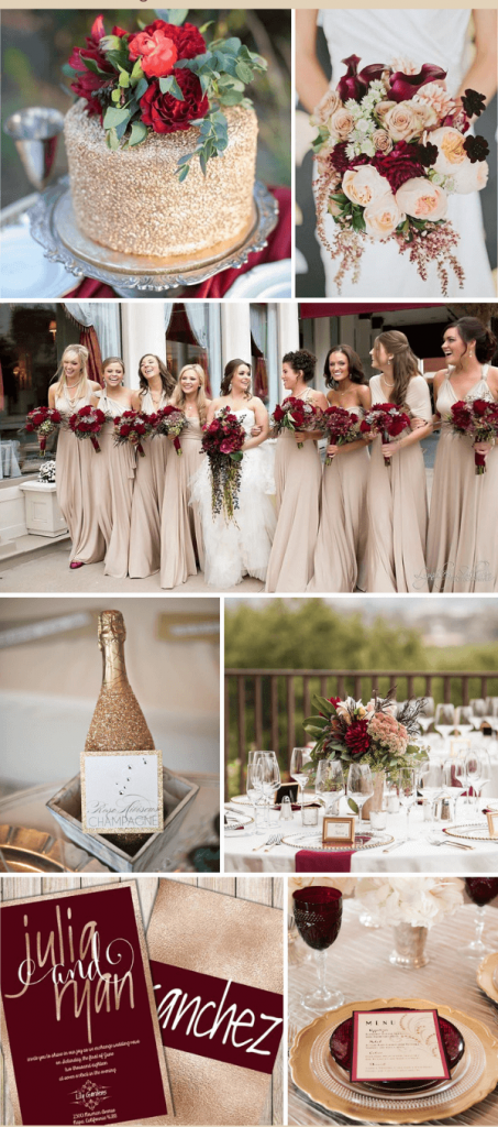 Champagne Burgundy fall wedding color