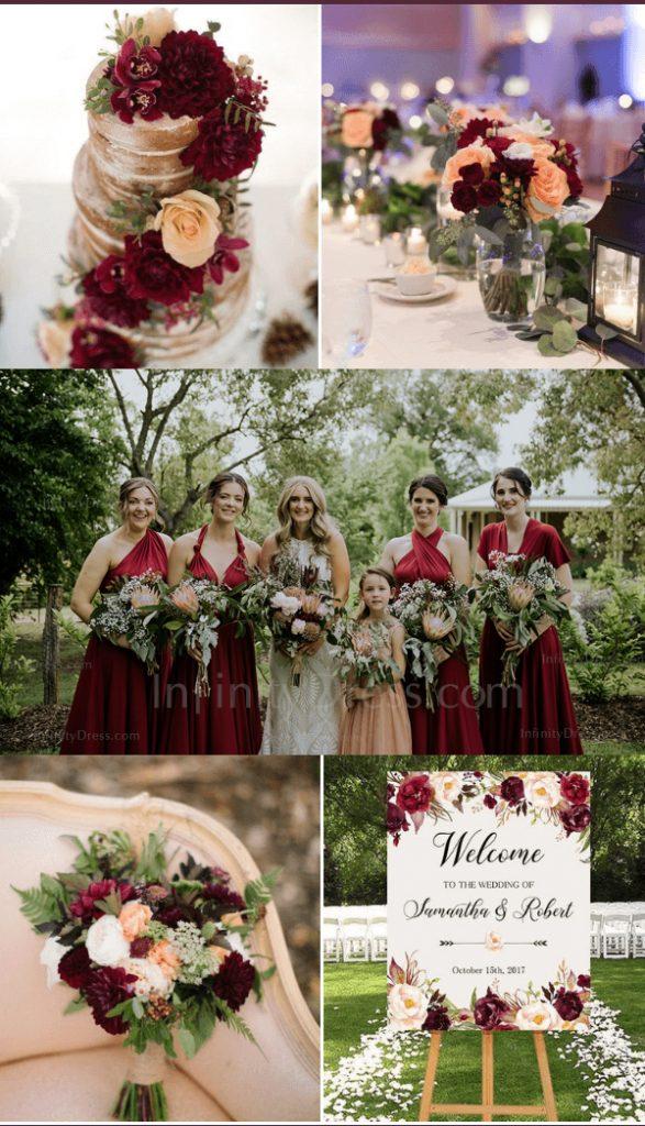 Burgundy peach green fall wedding color