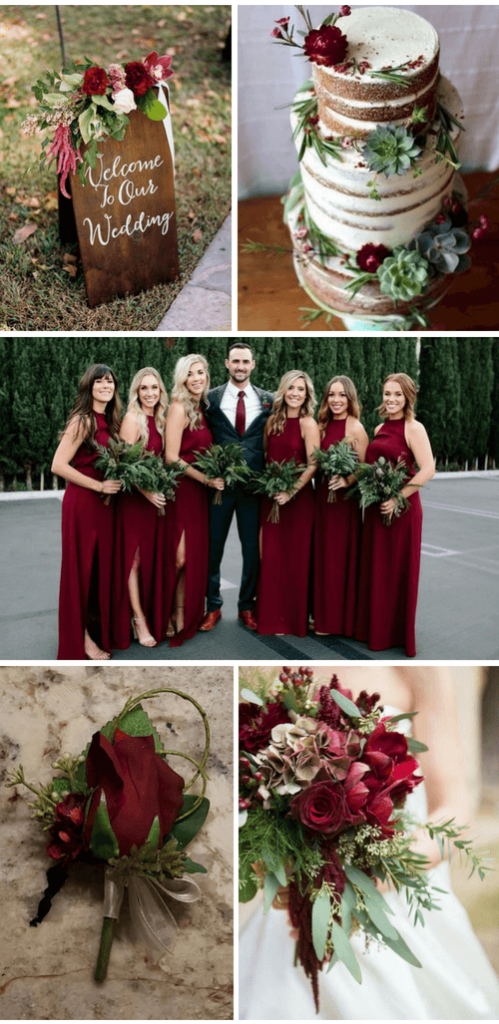 Burgundy Green fall wedding color