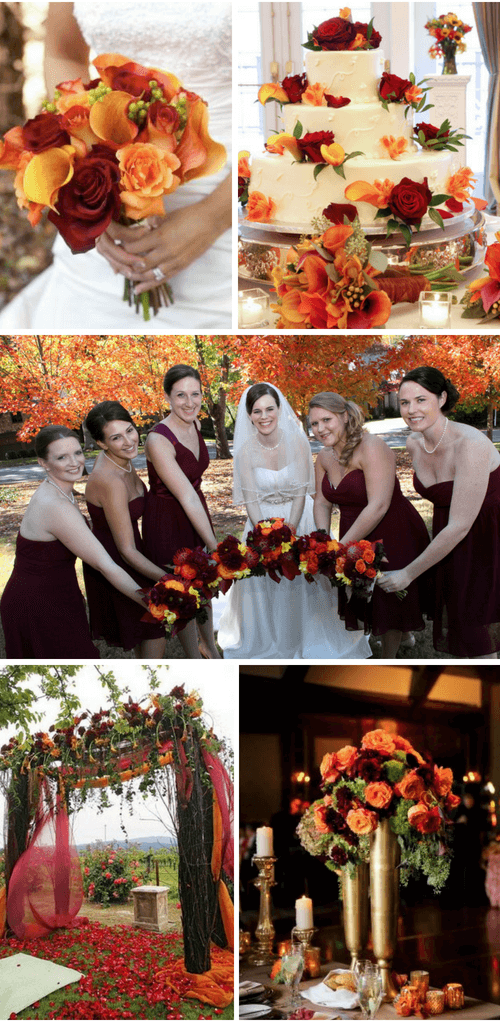 Burgundy & Orange fall wedding color