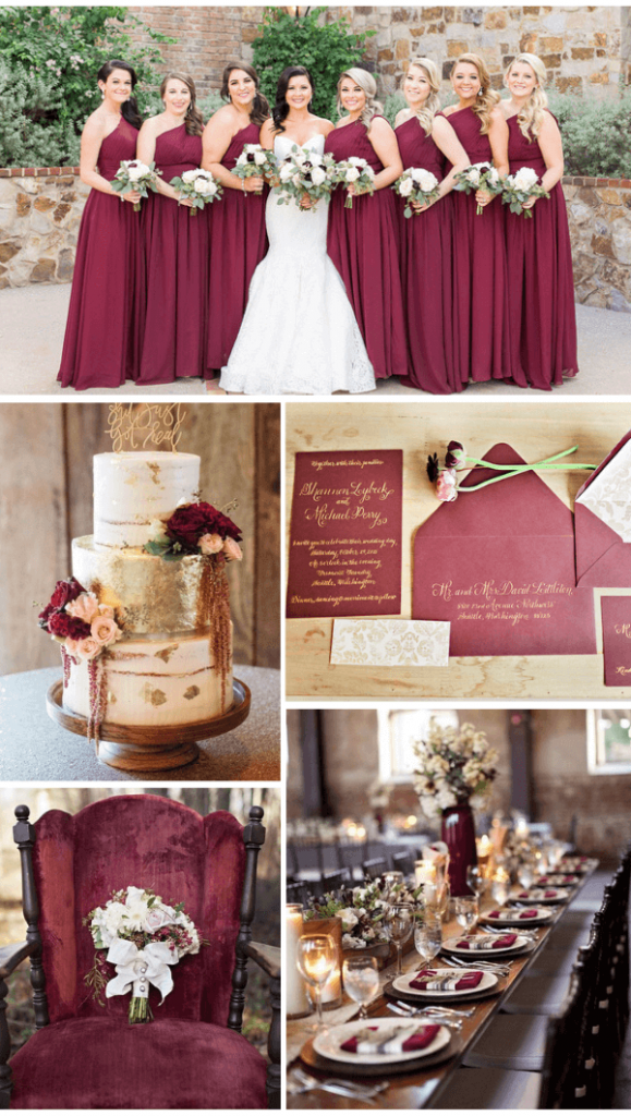 Burgundy gold fall wedding color