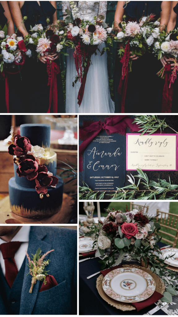 Navy Burgundy fall wedding color