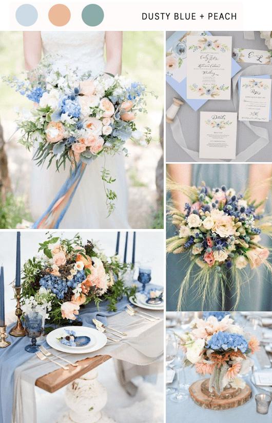 Dusty Blue & Peach wedding color